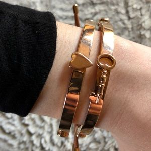 FOSSIL Key & Heart Rose Gold Bracelet Bundle